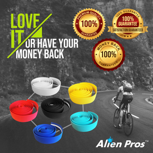 Alien Pros Bike Handlebar Tape EVA (Set of 2) Black Red White Blue Pink Green - Enhance Your Bike Grip with These Bicycle Handle bar Tape - Wrap Your Bike for an Awesome Comfortable Ride