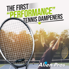 Load image into Gallery viewer, Alien Pros Performance Tennis Racket Dampeners (3 Pack, Black) - Perfect Tennis Shock Absorbers stabilize Your Strings for Optimal Performance - Tennis Dampeners Set (3 Pack, Black)