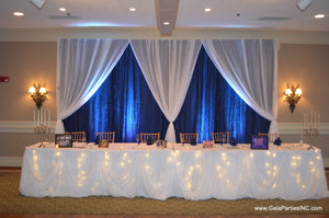 Fairy Light Wedding Reception Event Table Draping Rental Maryland