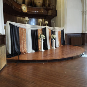 Gold White Black Wedding Ceremony Backdrop Rental