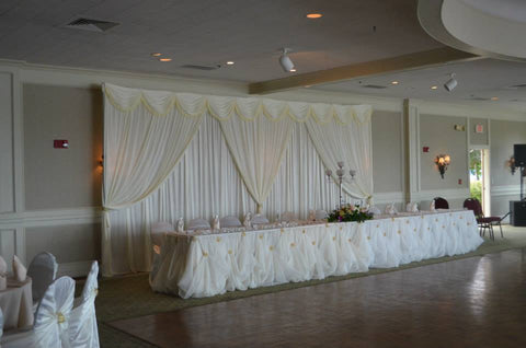 Table Draping Maryland Wedding Rentals Ivory Cinderella Glam
