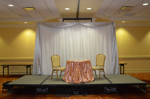 blush silver white sweetheart table backdrop