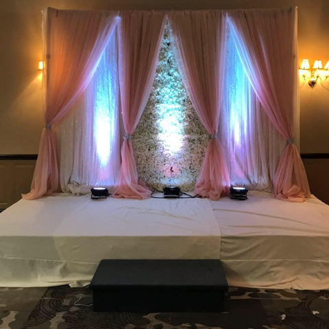 White & Champagne Sheer Flower Wall Backdrop Rental Severn MD