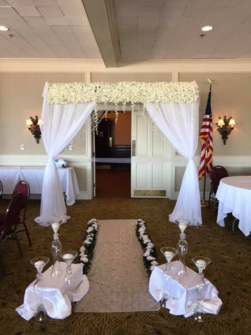 White Sheer Silk Flower Ceremony Entrance Wedding reception shower party rental severn md