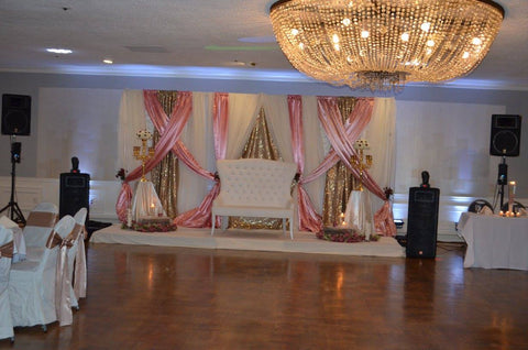 Blush Ivory Gold Wedding Event Backdrop Rental Severn MD Yemeni Wedding Pakastani Indian Desi South Asian Decorator