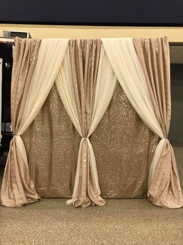 Champagne Sequin Ivory Wedding Event Ceremony Headtable Backdrop Rental Decor Decorator MAryland