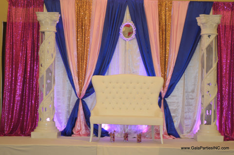 Wedding Event Backdrop Decor Stage Rental Severn Maryland Pink Royal Blue White Gold