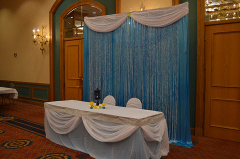 Turquoise White Crystal Wedding Event Backdrop Pipe & Drape Rental Head Table Draping Severn Maryland