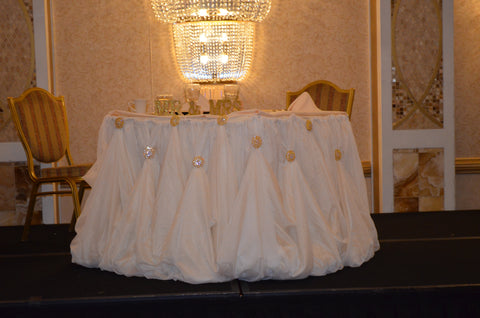 Ivory Cinderella WEdding Event Table Draping Skirting Rental Severn Maryland