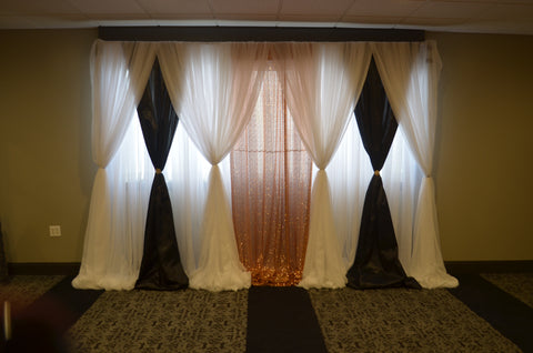 gatsby backdrop rental black gold ivory Severn Maryland wedding event party gala