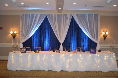 White Fairy Light Cinderella Head Table Draping Wedding Party Rental Maryland