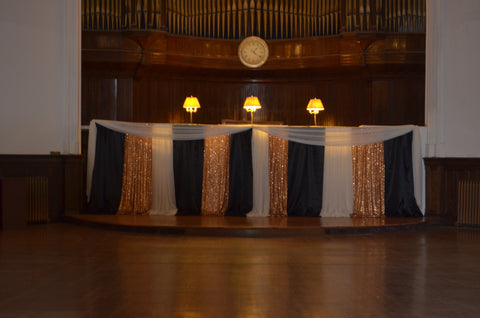 Black Gold White Ceremony Backdrop Rental Severn Maryland Pipe & Drape Arch Rentals Decorator Decor