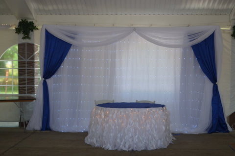 White Fairy Light Royal Blue Wedding Reception Backdrop Rental Severn Md Maryland
