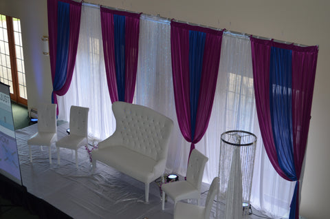 purple blue white crystal wedding backdrop severn maryland rental Gala parties Inc.