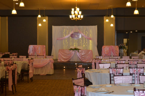 Pink and White Fairy Light Backdrop Draping Pipe and Drape Rental Wedding Events Maryland Severn