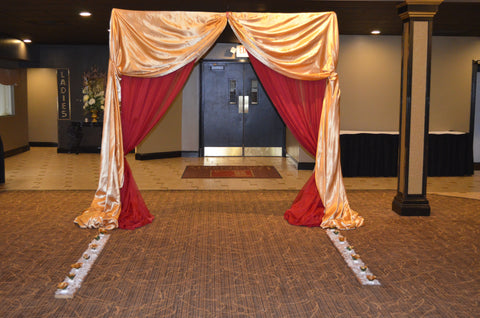 Red Gold Entrance Ceremony Wedding Reception Arch Rental Severn Maryland Decor Decorator