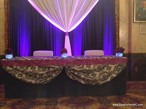 Black & White Wedding Reception Sweetheart Table Backdrop Rental Severn Maryland