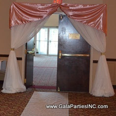 Blush Ivory Wedding Reception Entrance Ceremony Arch Draping Rental Decor Decorator Severn MD
