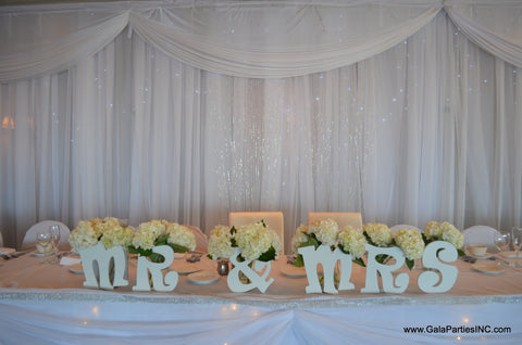 White Sheer Crystal Beaded Headtable draping backdrop rental Severn MD Decorator Wedding Event Decor