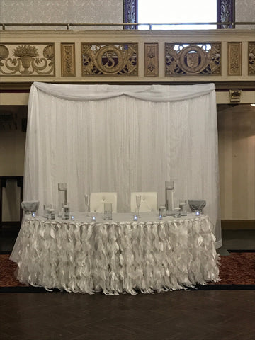 White Wedding Sweetheart table backdrop table draping rental severn Maryland Decor party event design decorator