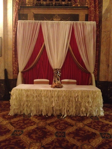 Red Ivory Gold Backdrop Ivory Table Draping Rental Severn MD decor decorator