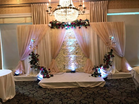 Ivory Silk Flower wall Champagne Draping backdrop rental Severn md