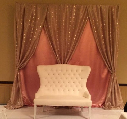 Champagne Blush Wedding Birthday Event Backdrop Draping Stage Rental Pipe and Drape Maryland