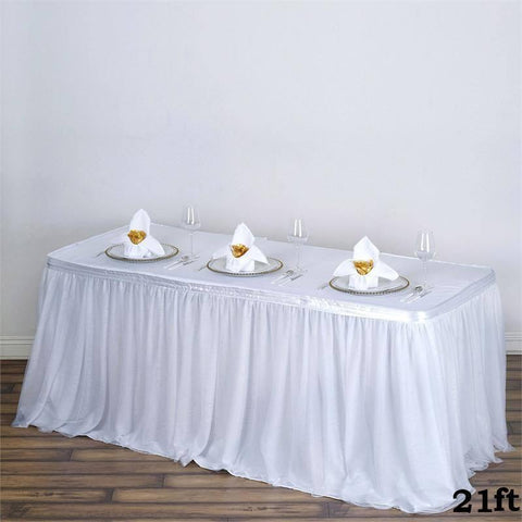 Sheer White 21ft Table Skirt