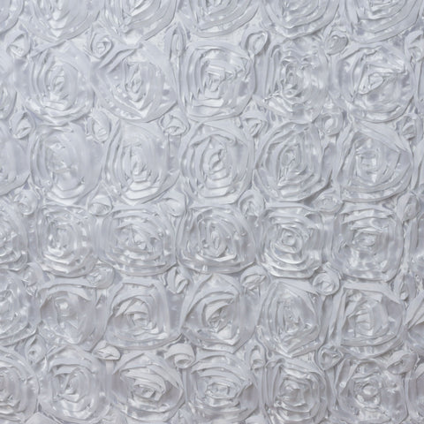 Rose Textured White Table Skirt