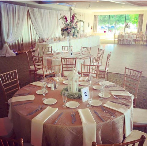 Ivory Wedding Event Theme Backdrop Table clothes Rentals Severn MAryland