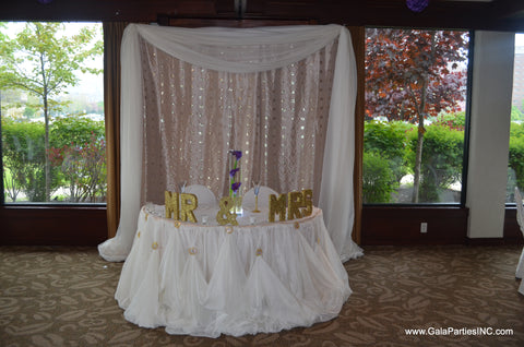 Champagne Ivory wedding reception Backdrop Glam Table Draping Rental Severn MD
