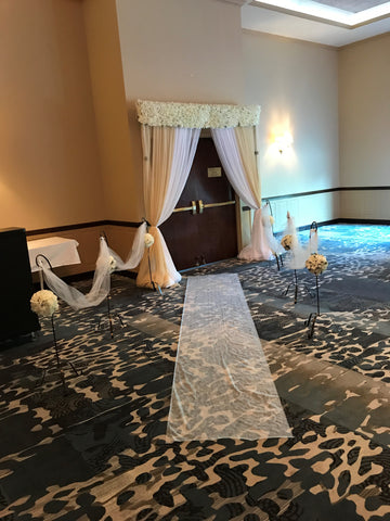 Champagne Ivory Floral Top Entrance Ceremony Arch Rental Severn Maryland