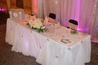 white cinderella sweet heart table draping rental severn maryland