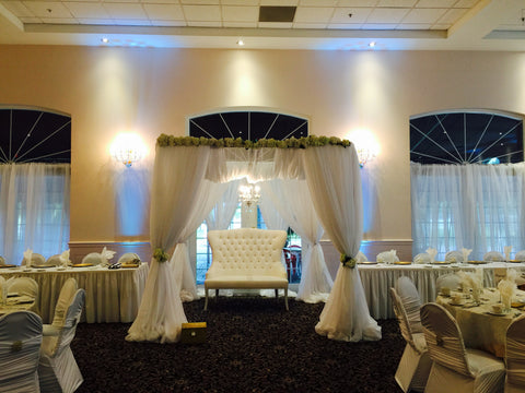 Ivory Chuppah Mandap Canopy Wedding Reception Ceremony Draping Rental Severn MD Baltimore