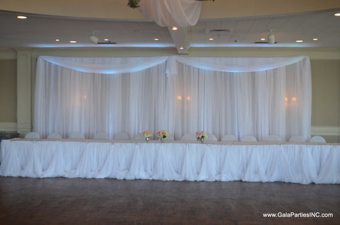 White Sheer Headtable backdrop draping Fairy Table Draping Wedding Event Party Severn Maryland MD Baltimore Rentals