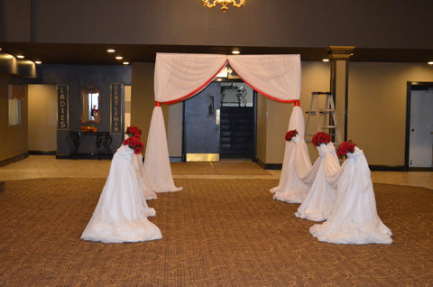 Red White Entrance Ceremony Wedding Reception Decor Decorator Rental Severn Maryland Baltimore MD