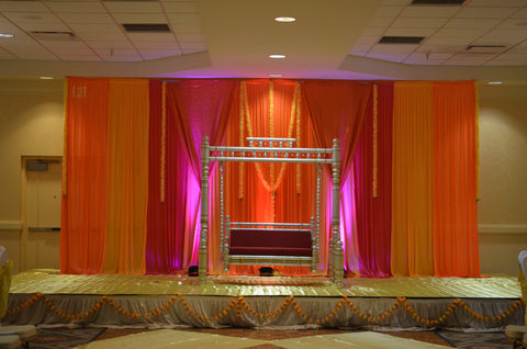 Orange Yellow Pink Wedding Sangeet Indian Henna Party BAckdrop Rental Severn MD