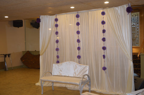 White With Purple Flower Garland Wedding Ceremony Event Backdrop Rental Severn MD