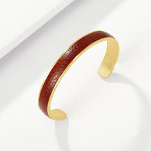 Load image into Gallery viewer, Engravable Gold Bangle in thick Premium Leather