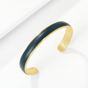 Engravable Gold Bangle in thick Premium Leather