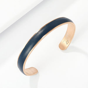 Engravable RoseGold Bangle in thick Premium Leather