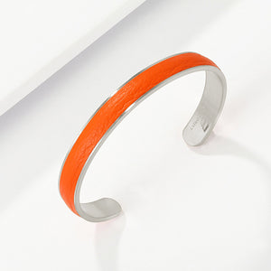 Engravable Silver Color Bangle in thick Premium Leather