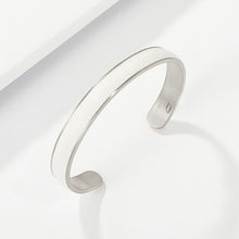Load image into Gallery viewer, Engravable Silver Color Bangle in thick Premium Leather