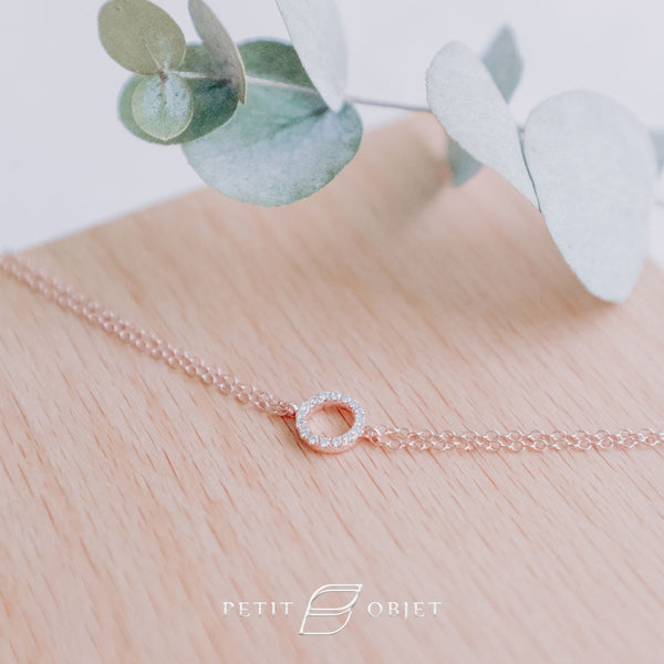 Rose gold bracelet in paving circular diamond
