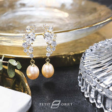 Load image into Gallery viewer, Earrings with 15 graduated diamonds and oral pearls