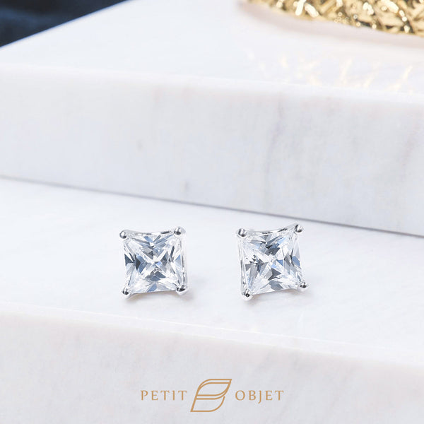 8 mm square shape diamond earrings in 18K white gold
