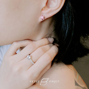 Pink rose diamond with rose gold plated stud