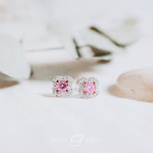 Load image into Gallery viewer, Pink rose diamond earrings in floral diamonds halo