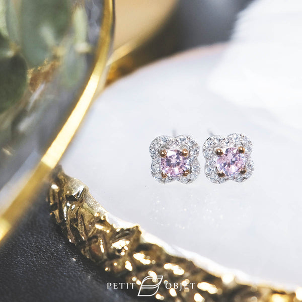 Pink rose diamond earrings in floral diamonds halo