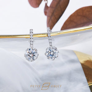 6 diamond bar drop set with round crown drop earrings